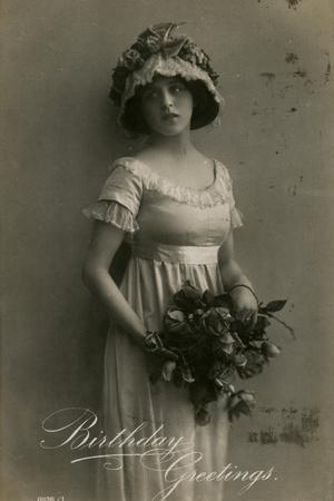 Young Woman with Roses on a Birthday Postcard