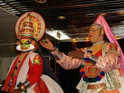 Two Mask Dancers in Cochin, Kerala State, India