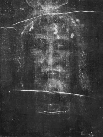 Part of the First Photograph of the Shroud Showing the Face