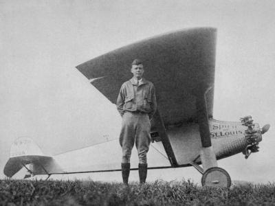 Charles Augustus Lindbergh American Aviator with His Ryan Monoplane the Spirit of St. Louis