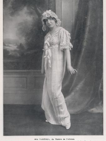 Mlle Vareska of the Theatre de l'Athenee in Her Night Attire