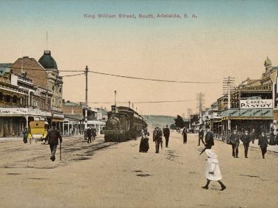 Train on King William Street, Adelaide, South Australia, 1900s