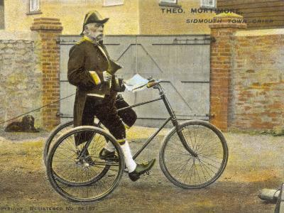 Theo Mortimore, the Town Crier of Sidmouth, Devon, in His Official Rig, on His Bicycle