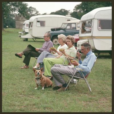 Camping Couples and Corgi