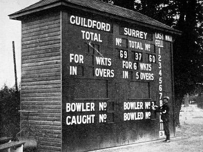 Cricket Scoreboard at Guildford, Surrey, 1938