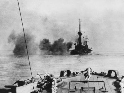 French Battleship in Action in the Dardanelles During World War I