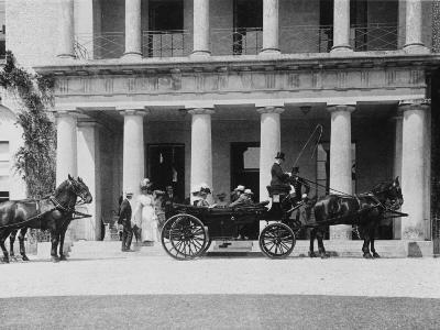Guests Depart for the Races from Goodwood House, West Sussex
