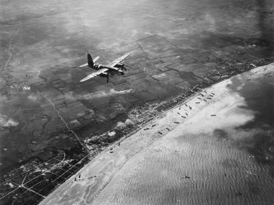 D-Day - Bomber Giving Air Support to Infantry Invasion
