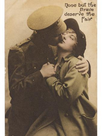 """""""None But the Brave Deserve the Fair"""" - a Soldier Kisses His Girlfriend Goodbye"""