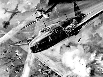 RAF 'Wellington' Bombers Attacking a German Airfield; Second World War