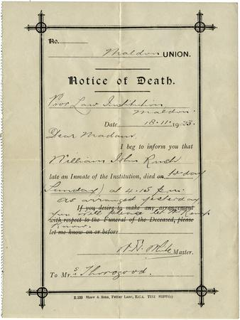 Notice of Death from Union Workhouse, Maldon, Essex