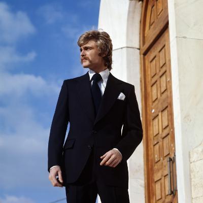 Retro Male Suited Model 1970s, Blue, Smart, Moustache, Fashion