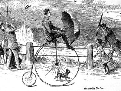 Penny Farthing Bicycle 'Under Full Sail', 1890