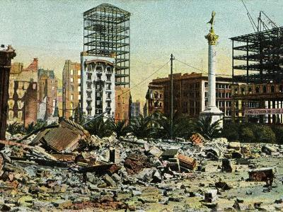 San Francisco Earthquake 1906. the Ruins of Union Square Surrounded by Destruction