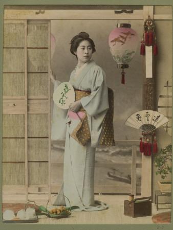 Portrait of Lady in Kimono with Fan