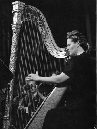 Sidonie Goossens (1899-2004) English Harpist Playing the Harp