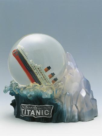 Close-Up of a Snow Globe Depicting Sinking of Titanic