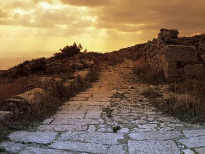 High Angle View of the Sacred Way, Ancient Thera, Santorini, Cyclades Islands, Southern Aegean