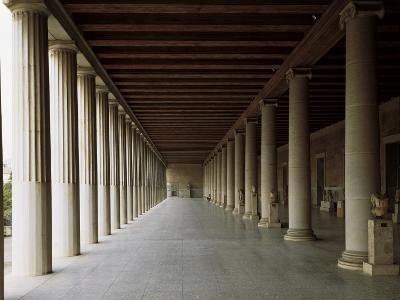 Columns in an Ancient Agora, Stoa of Attalos, Athens, Greece