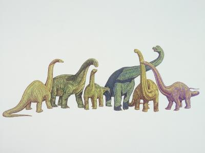Group of Dinosaurs Standing Together