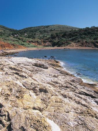 High Angle View of a Beach, Terranera Beach, Porto Azzurro, Elba Island, Tuscany, Italy