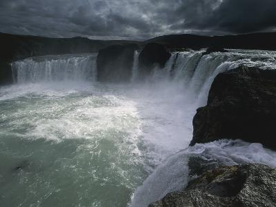 Storm Clouds over Waterfalls, Godafoss Falls, Akureyri, Sudur-Thingeyjarsysla, Iceland