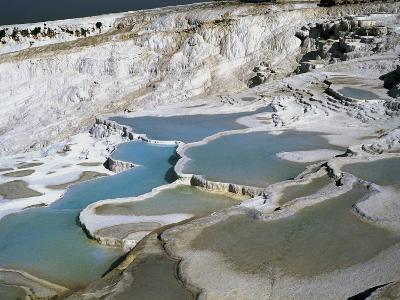 High Angle View of Rock Formations, Denizli Province, Pamukkale, Aegean Region, Turkey