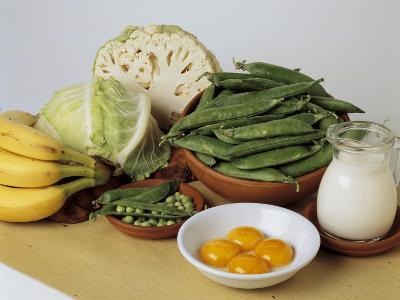 Close-Up of Fruits and Vegetables with a Jug of Milk