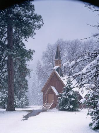 Winter View of Chapel in Snowy Valley