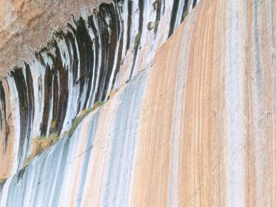 Detail of Water Stains on Sandstone Wall of Canyon in Fall