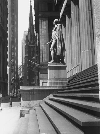 Statue at Steps in Front of Building, Wall Street, Trinity Church in Distance, New York City