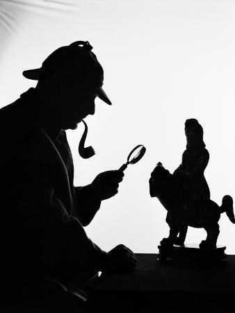 Silhouette of Man Wearing Deerstalker, Dressed As Sherlock Holmes