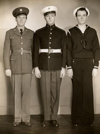 Ww Ii Us Army, Marine and Navy Men in Uniform