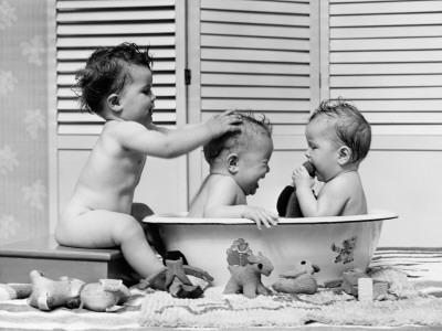 Three Babies in Wash Tub, Bathing