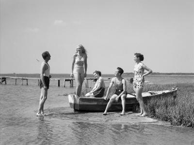 Two Men and Three Women in Bathing Suits