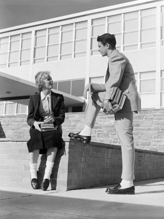 High School Boy and Girl Talking