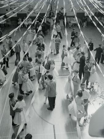 Overhead View of Couples at Prom Dancing