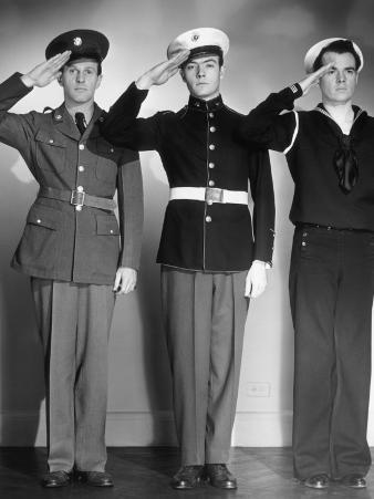 Army, Marine and Navy Men in Uniform Saluting