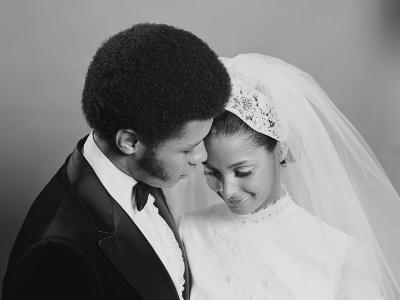 Newlywed Couple, Groom Leaning in Towards Bride