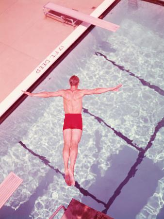 Man Diving Into Swimming Pool, Overhead View