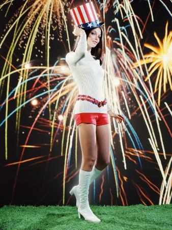 Young Woman in Hot Pants and Go-Go Boots, Wearing Uncle Sam Hat