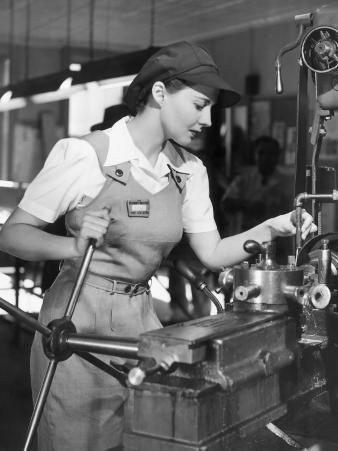 Woman Defense Worker Operating Machinery