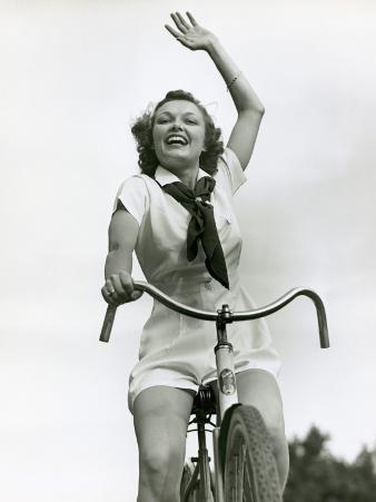 Girl on Bike, Waving