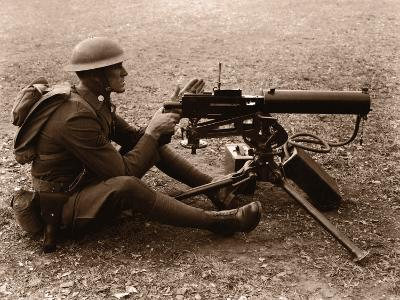 Soldier Aiming Machine Gun