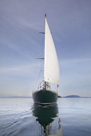 Usa, Washington State, San Juan Islands, SV Nawalak Reflecting in Sea
