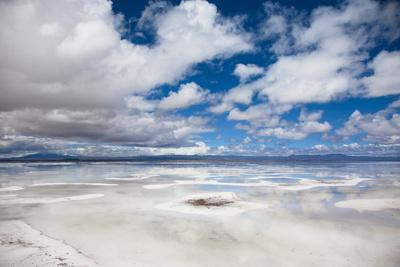VIEW OF FLOODED UYUNI SALT FLAT IN BOLIVIA