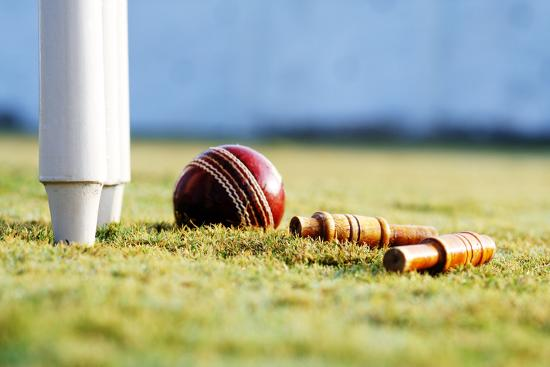 Partial View Of The Cricket Stumps And A Ball Photographic
