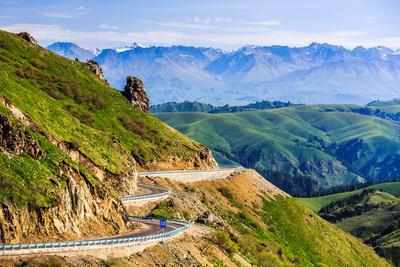 Winding Road on Tian Shan Mountains