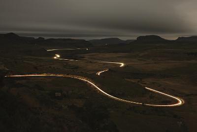 Vehicle Light Trails along the Road at Night