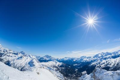 Sunny Day over the Alps in Winter